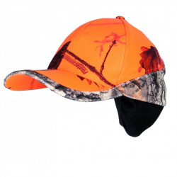 Casquette camouflage orange cache-oreilles