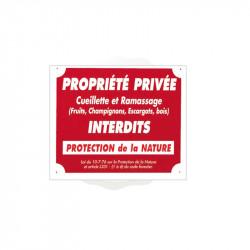 Pancarte Akyl - Propriété privée Ramassage et Cueillette Interdits