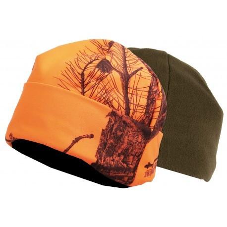 Bonnet réversible camo orange/vert